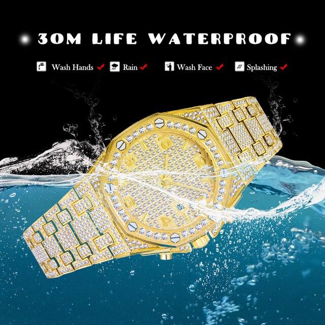 Relógios masculinos marca de topo relógio de luxo masculino tendência único ff árabe diamante relógio 18k ouro quartzo gelo para fora relógio cronógrafo 3