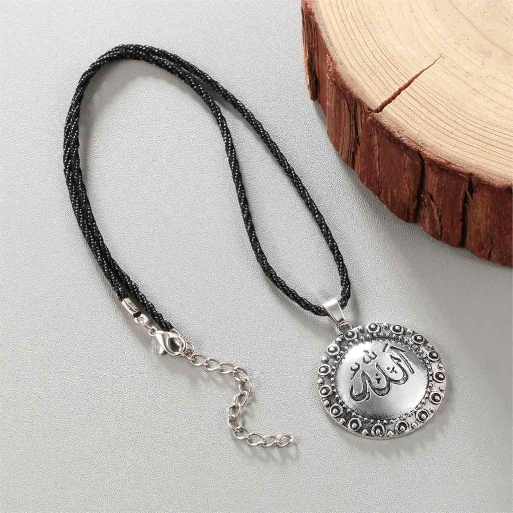 Cxwind Vintage Muslim Islam Tuhan Allah Bulat Liontin Kalung untuk Wanita Pria Iman Perhiasan Kalung Kalung Collier Femme