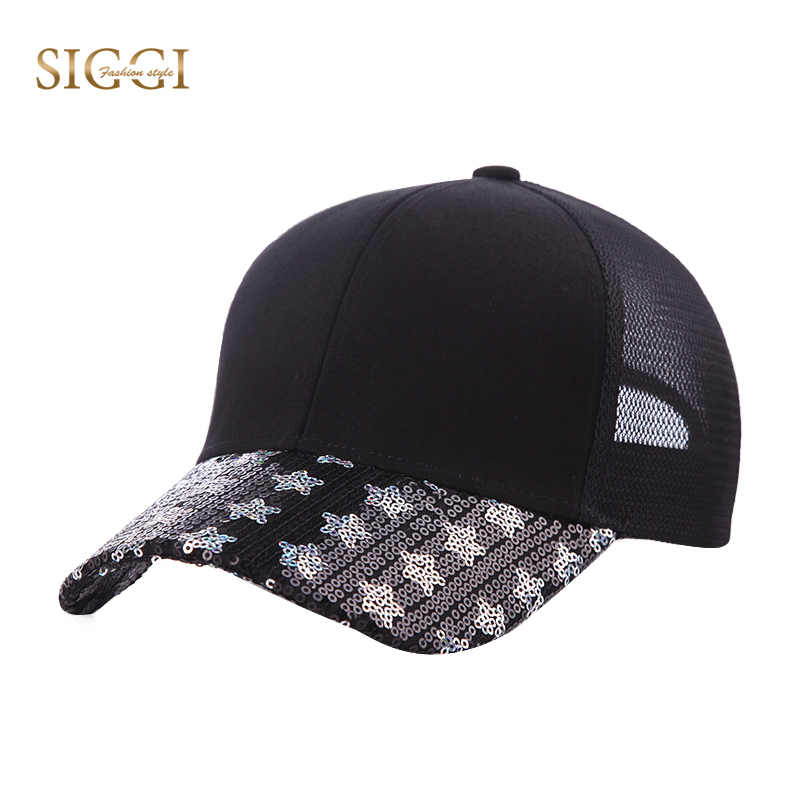 a3e0a0d5db6 SIGGI Spring Unisex Baseball Caps Youth Solid Star Sequin Breathable  Adjustable Brim Snapback Hat Mesh Fore Men Women 89081