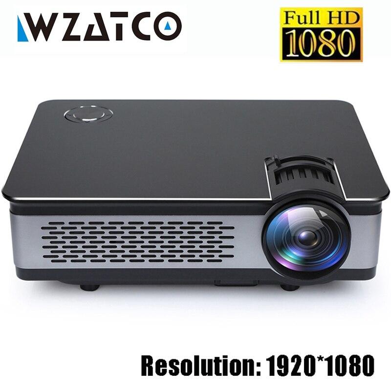 WZATCO CT580 Reale Full HD Proiettore 1080 p 1920*1080 3800 Lumen HDMI Home Theatre Android 7.1 Proiettori WIFI beamer LCD Proyector