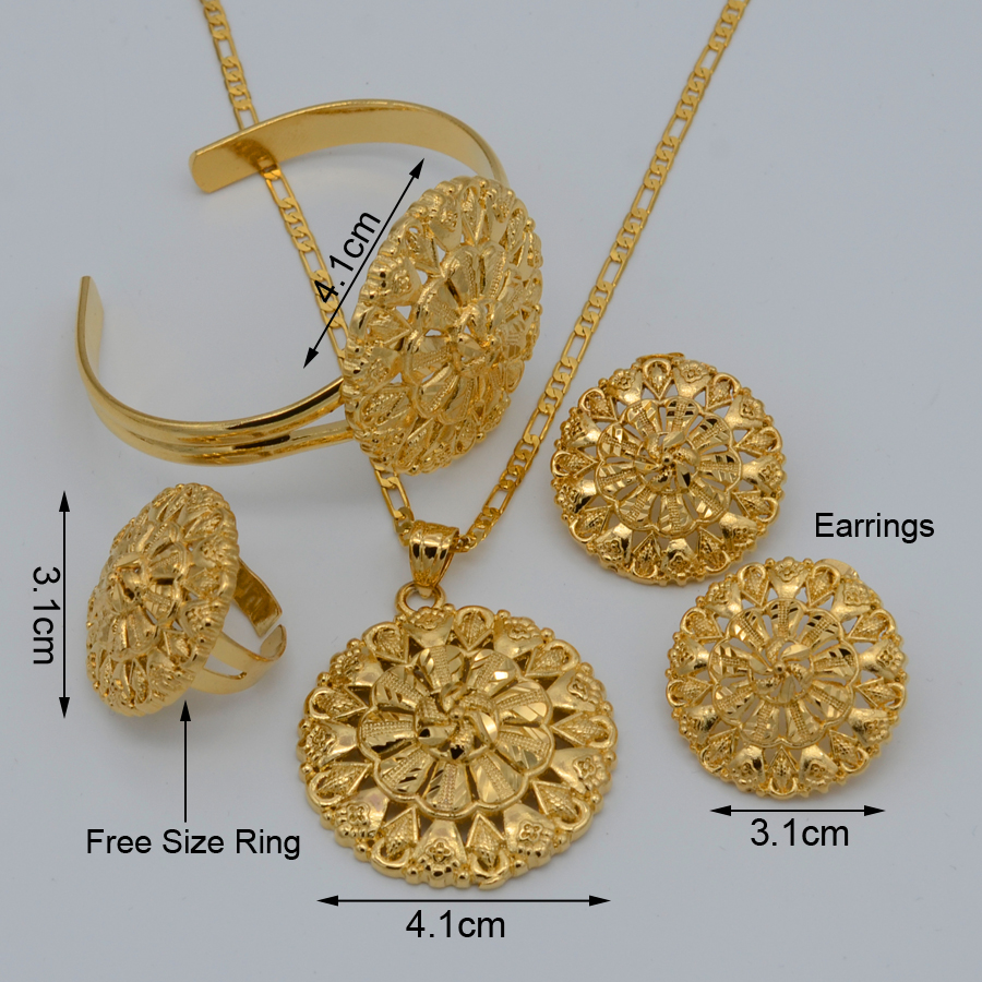 Anniyo Silver/Gold Color Ethiopian Set Necklace/Earring/Ring ...