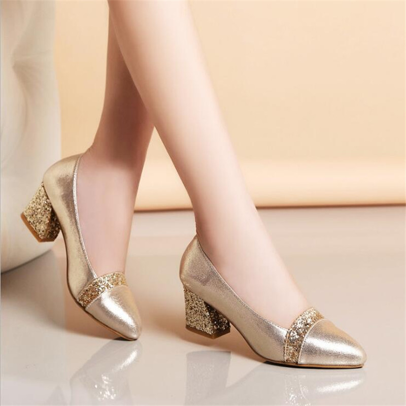 Female Single Shoes 2018 New Women's Pointed Thick With Large Size Shoes With Comfortable Gold Sequins Shallow Mouth High Heels