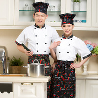 1set (Chef Uniform,apron,hat ) Unisex Chef Top Jackets, Food Cooking sushi apron hat,Kitchen Work Wear