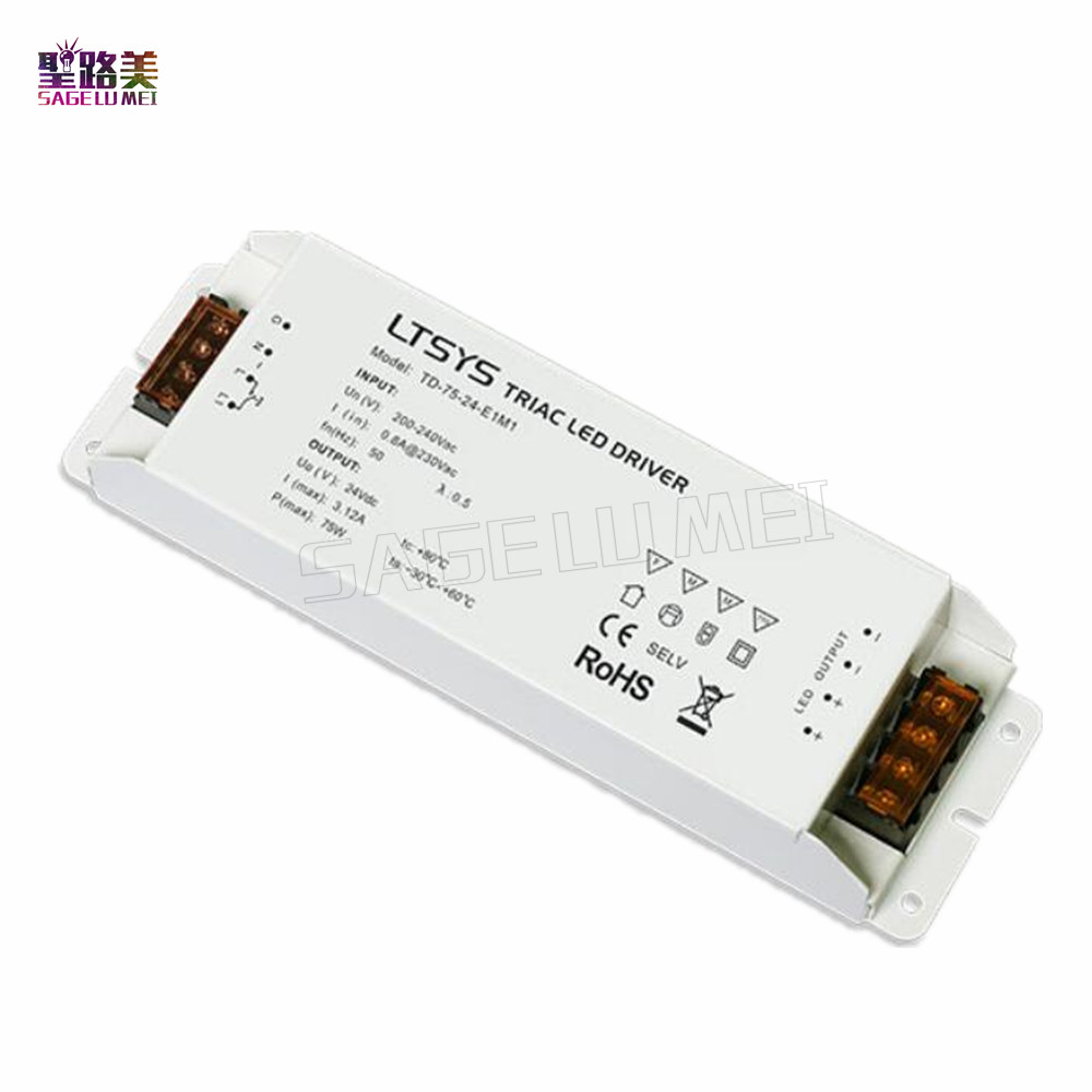 LTECH TD-75-24-E1M1 intelligent led Driver DC 24V 3.1A 75W constant voltage Triac Dimmable LED Driver  Triac Push Dim free ship kvp 24200 td 24v 200w triac dimmable constant voltage led driver ac90 130v ac170 265v input