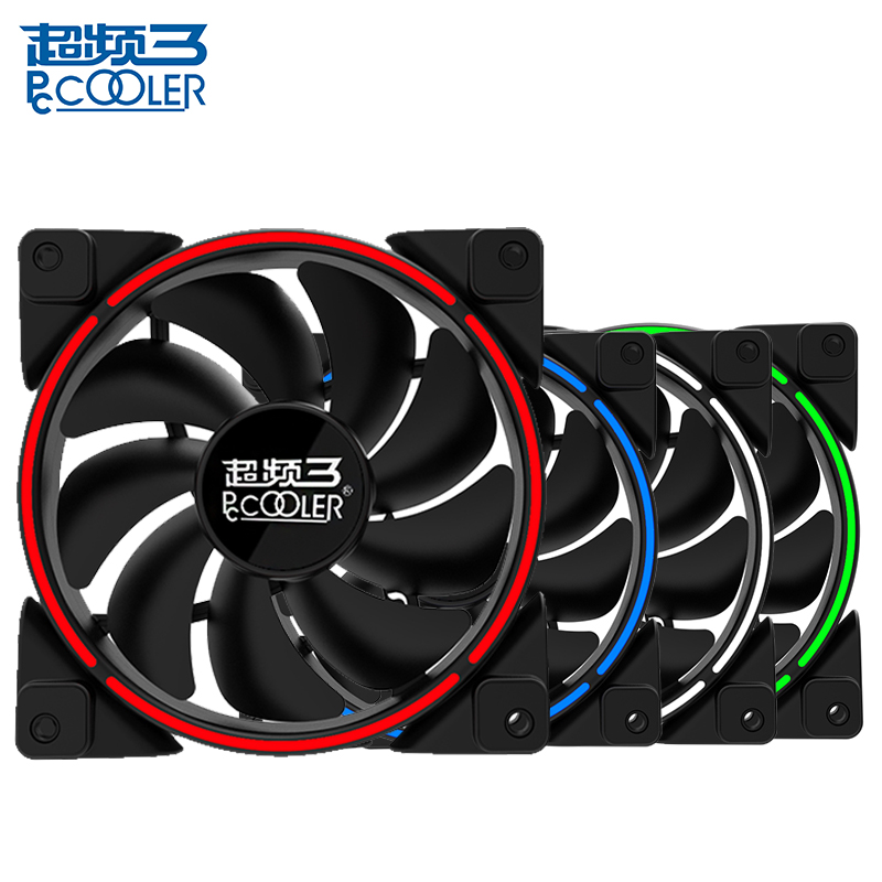 PCcooler 12cm Computer case  cooling fan LED  ring fan Quiet 120mm LED Red Blue Green White Light Guide ring PC Chassis mute fan aerocool 15 blade 1 56w mute model computer cpu cooling fan black 12 x 12cm 7v