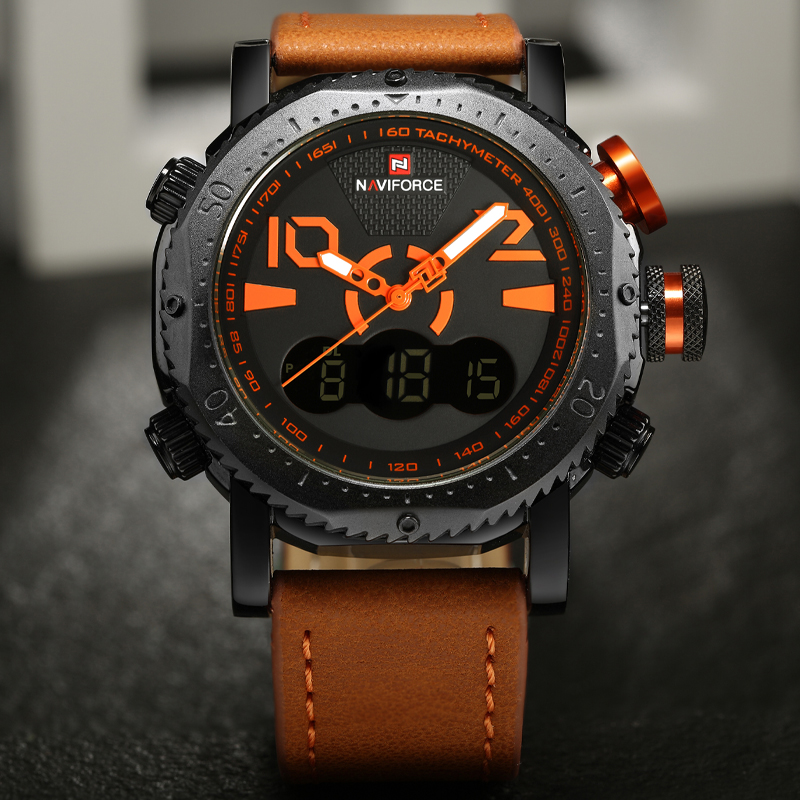 NAVIFORCE Men Watches Top Brand Luxury New Fashion Sport Digital Men's Watch Military LED Quartz Leather Watch relogio masculino