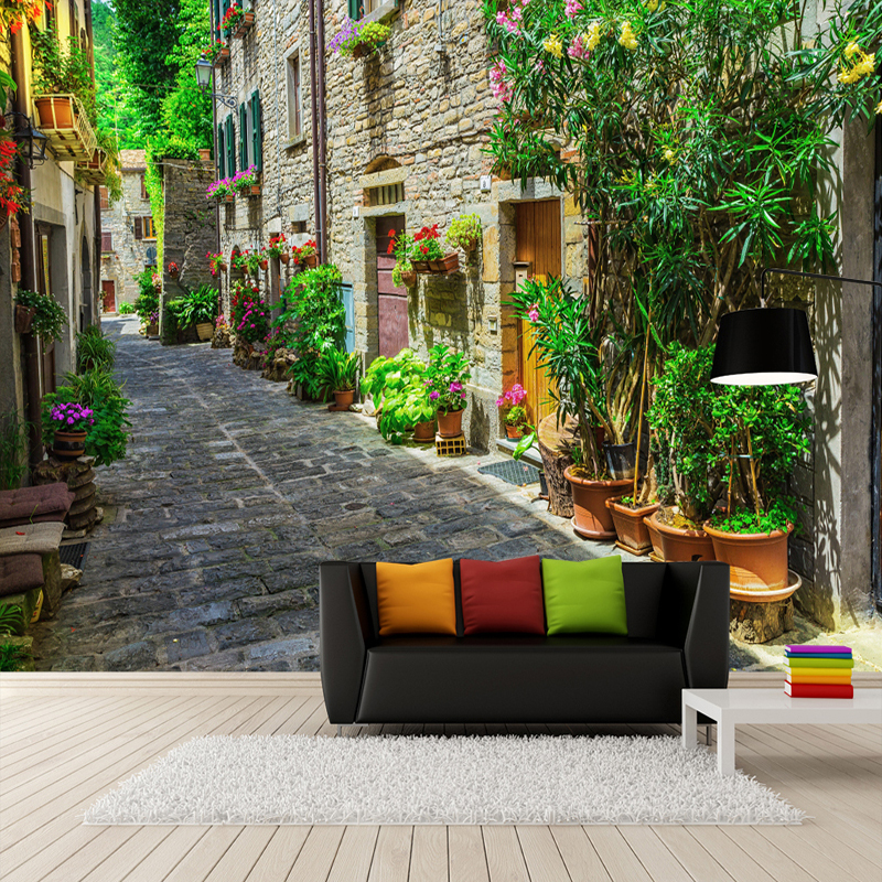 Custom 3D Wall Mural Wallpaper European Small Town Street Landscape Wall Painting Living Room Cafe Restaurant Decor Wall Papers