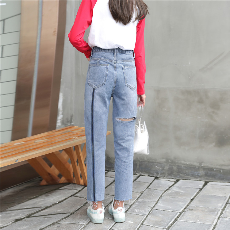 Broken Hole Jeans for Women High-waist Loose Straight Ankle-length Pants Casual Fashion Show Thin Woolen Burrs Ankle Strap Jeans image