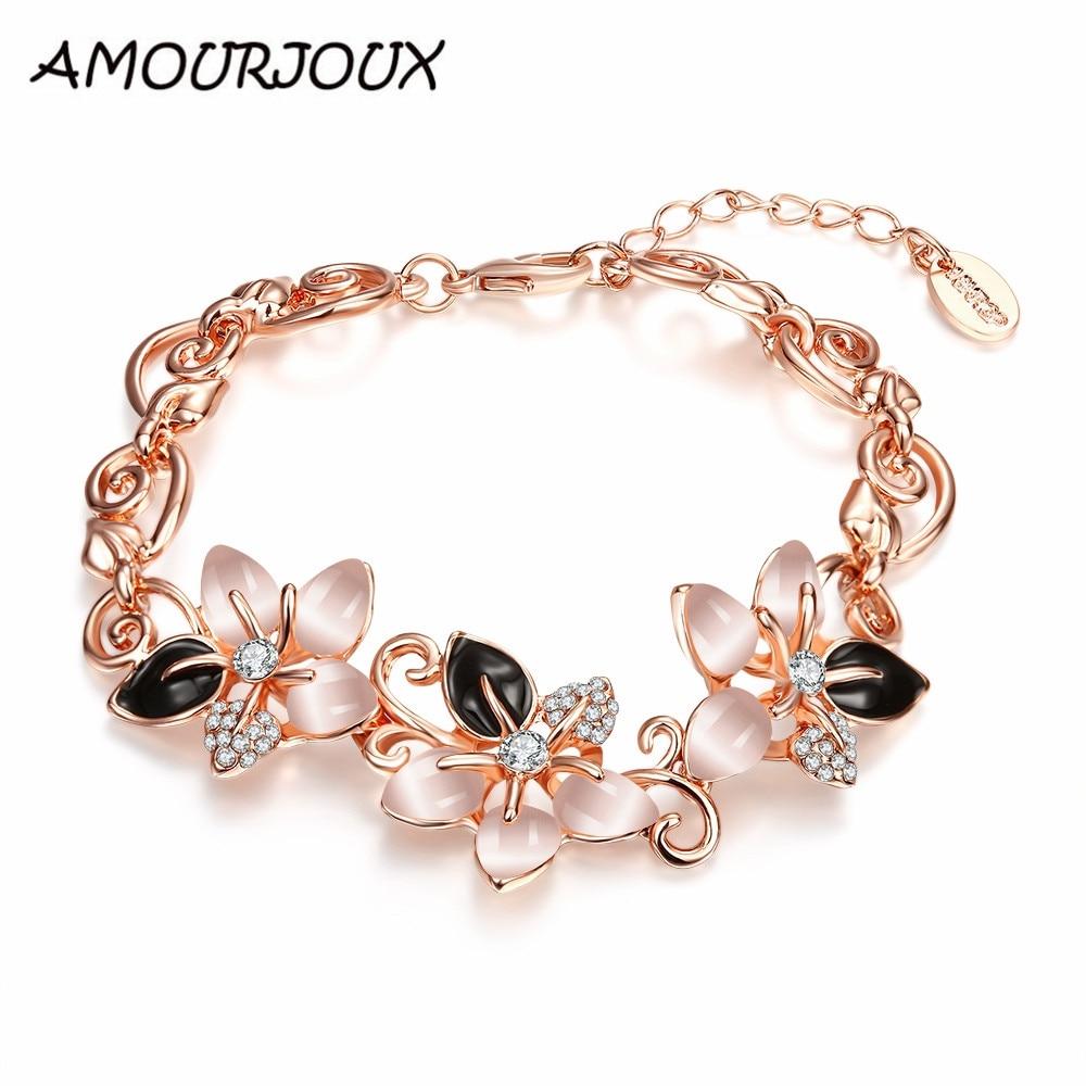 AMOURJOUX Pretty Rose Gold Color Opal Cute Flower Charm Bracelets & Bangles For Women Female Link Bracelet Jewelry Woman