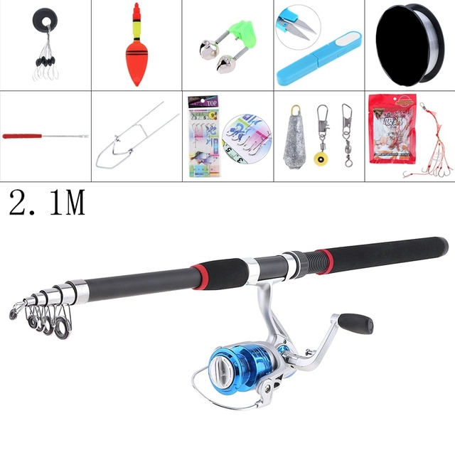 2.1m Durable Fishing Rod Reel Line Combo Full Kits 1000 Series Spinning Reel Pole Set fishing accessories