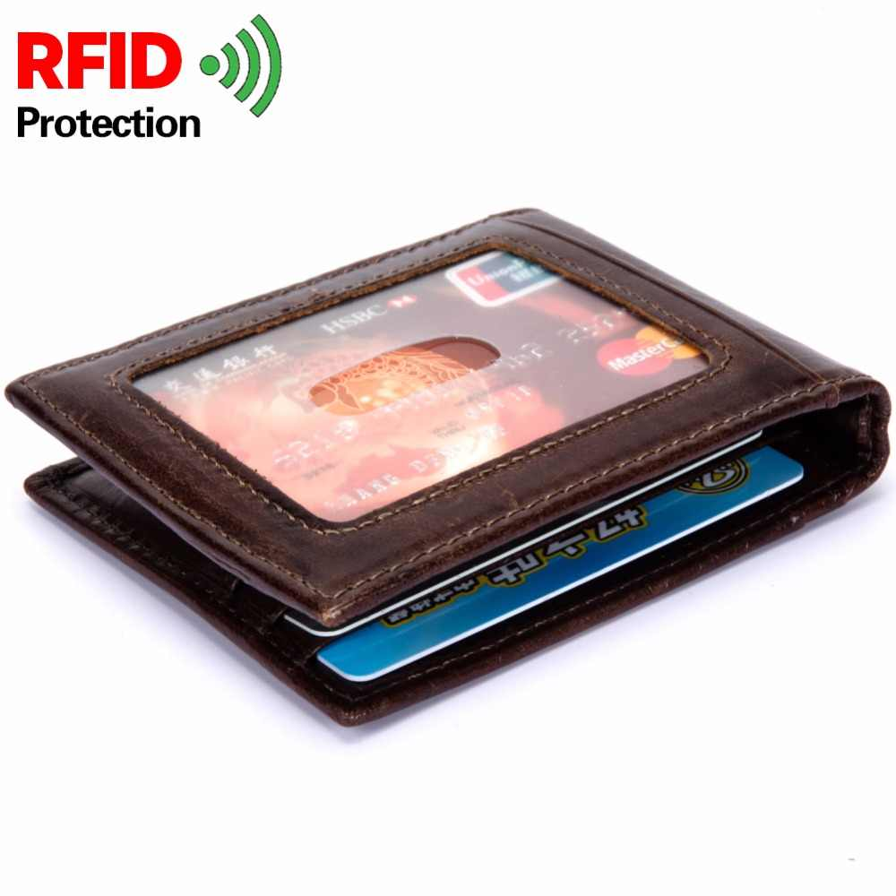 RFID Theft Protect Dollar Price Men Wallets Famous Brand With Money Clip Purse Genuine Cow Leather Wallets
