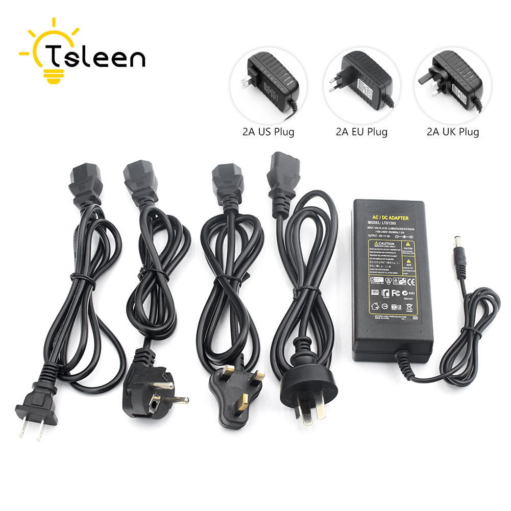 TSLEEN DC 12V AC100-240V Converter Adapter 5A Power Adapter Supply For 5050 3528 LED Rigid Lighting CCTV Camera With Cable