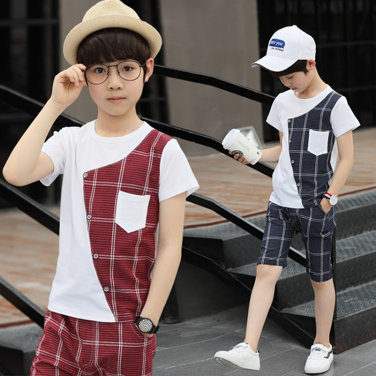 Baby boy clothes brand 2018 summer new boy children's plaid suit, striped printed short-sleeved T-shirt and pants two sets