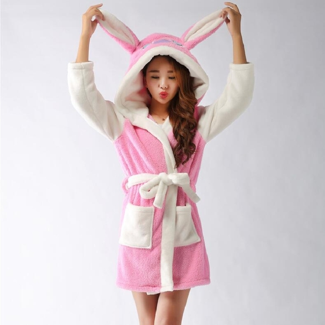 0aa12c3ff5 Couples Long Sleeve Hooded Stitch Robes Autumn and Winter Man Women Robe  Cute Pink Blue Color Nightgown Leisurewear Bathrobe