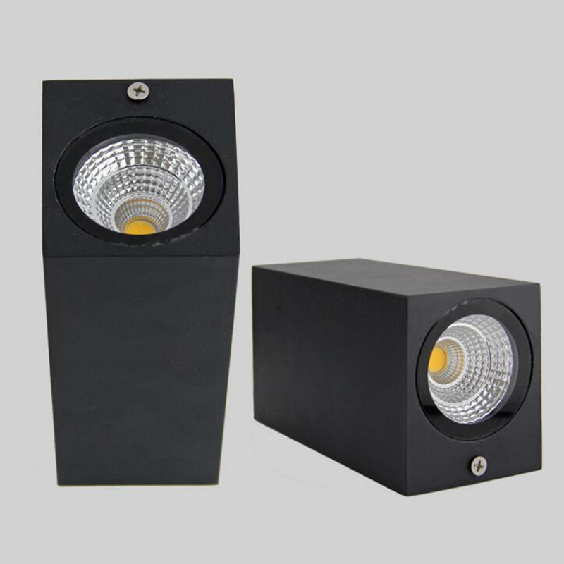 6ks LED Double 2 * 7W COB LED venkovní nástěnná lampa IP67 montáž venkovní krychle led nástěnné světlo, bílá / černá nahoru dolů AC 85-265V