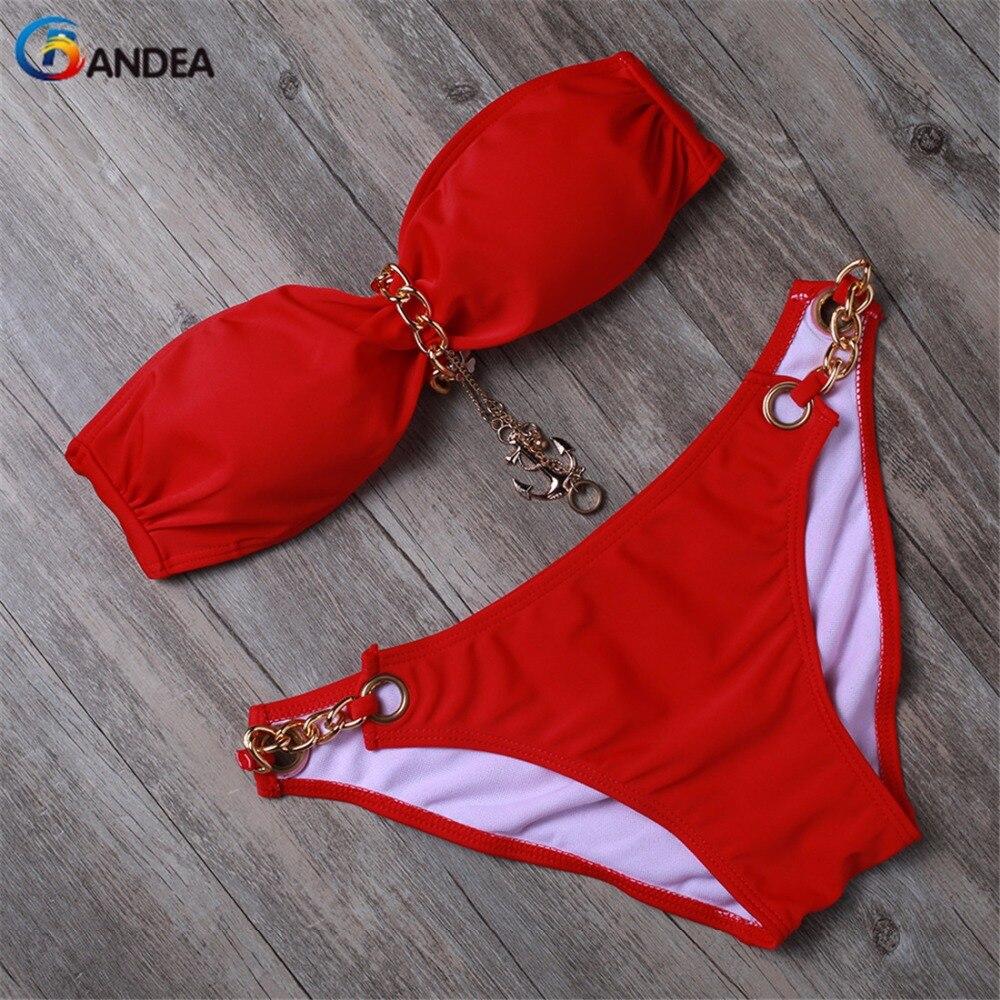 BANDEA bikini frauen bademode sexy padded bikini set niedrigen taille badeanzug weibliche bandeau badeanzüge strand tragen HA050