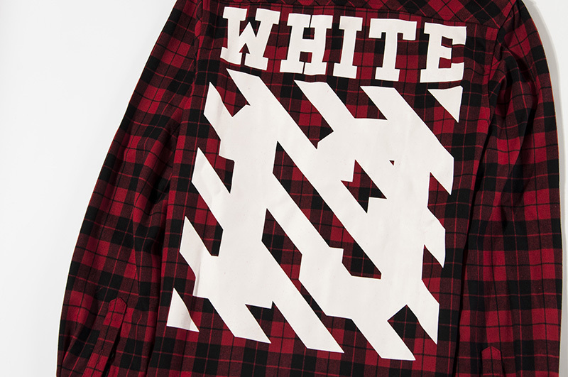 f5729346ff0 Off White C/O Virgil Abloh stripe print shirt pyrex vision kanye west men's  13 plaid flannel long sleeve red and black shirts-in T-Shirts from Men's ...