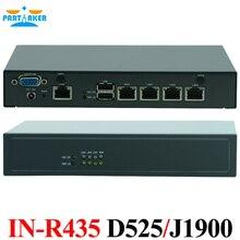 Intel atom d525 quad core j1900 firewall router mini ordenador 4 lan mini router servidor con intel 82583 v chipset