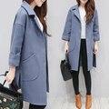 2017 Spring and winter new women's Korean fashion Slim woolen jacket female tide in the long section woolen coat