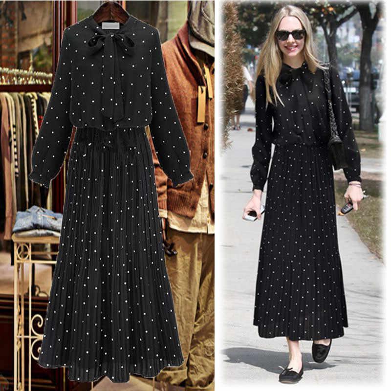 2018 новое осеннее платье с круглым вырезом и длинными рукавами, однотонное Черное Шифоновое в горошек, свободное платье большого размера, женская мода, B282