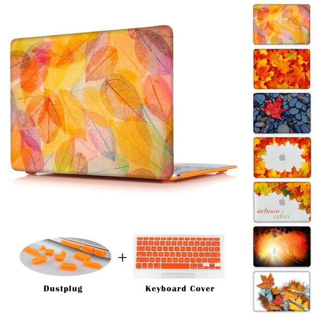 Luxury Clear Case for MacBook Air 11 13 Maple Leaf Pattern Air 12 Hard Cover for Macbook Pro Retina 13 15 / Pro 13 15 Case Shell