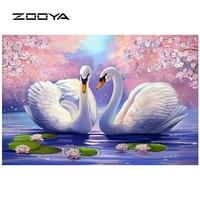 ZOOYA Full Diamond Embroidery Needlework Diy Rhinestones Cross Ctitch Kits Full Diamond Mosaic Natural Swan Flower