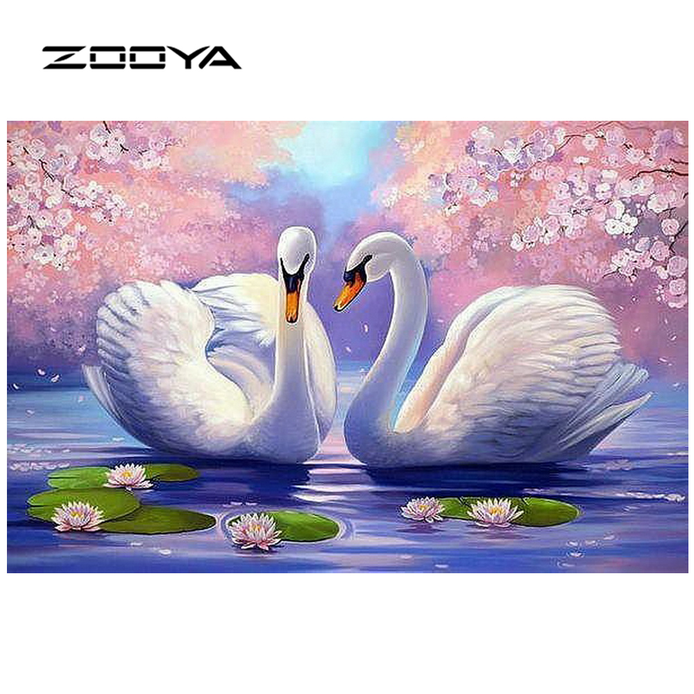 ZOOYA Full Diamond Broderi Needlework Diy Rhinestones Cross Ctitch Kits Full Diamond Mosaic Natural Swan Flower BB1483