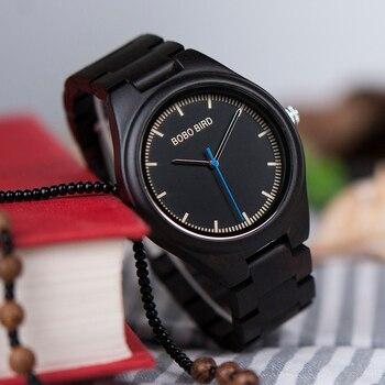 BOBO BIRD Reloj Masculino Reloj De Madera Reloj De Cuarzo En Caja De Regalo De Madera OEM Envío Directo W-O03