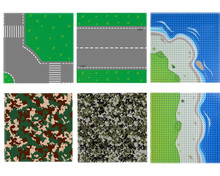 Military SWAT Base Straight Cross 25.6cm Plate Camouflage 32×32 dots Building Block Sets Children Toys Compatible with Legoe