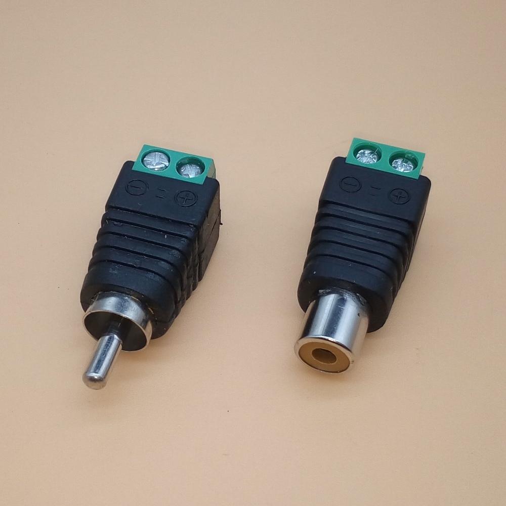 10PCS RCA Connectors Male + Female Plug TO AV Screw Terminal Video AV Balun Adapter Connector 2pcs 3pins gold plated stereo 2 5 av balun connector stereo 2 5mm 1 8 male plug to av screw terminals av wire converters page 9