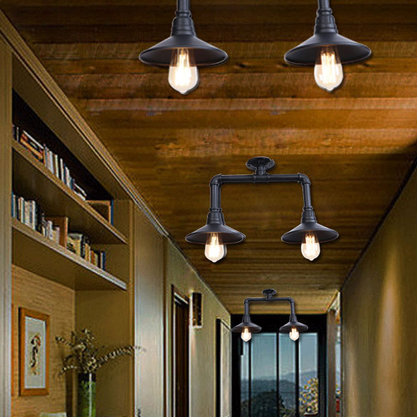 Industrial Style Vintage Retro E27X2 Bulb Water Pipe Iron Material Ceiling Down Light 100 240V