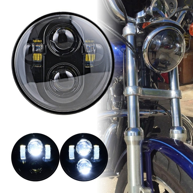 "5.75"" LED Headlight High/Low Beam 5 3/4' LED Headlamp Driving Light for Harley  Motorcycle Projector Headlights"