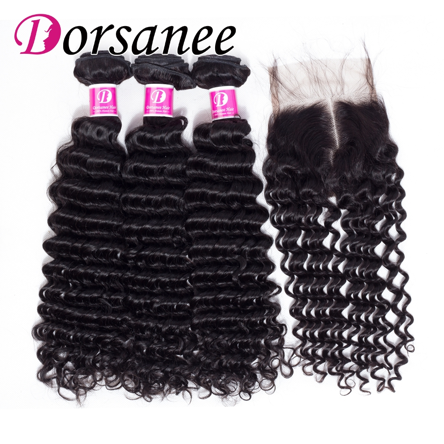 Dorsanee Deep Wave with Closure 100% Human Hair Extensions Brazilian Hair Weave Bundles with Closure 4x4 Non Remy Hair