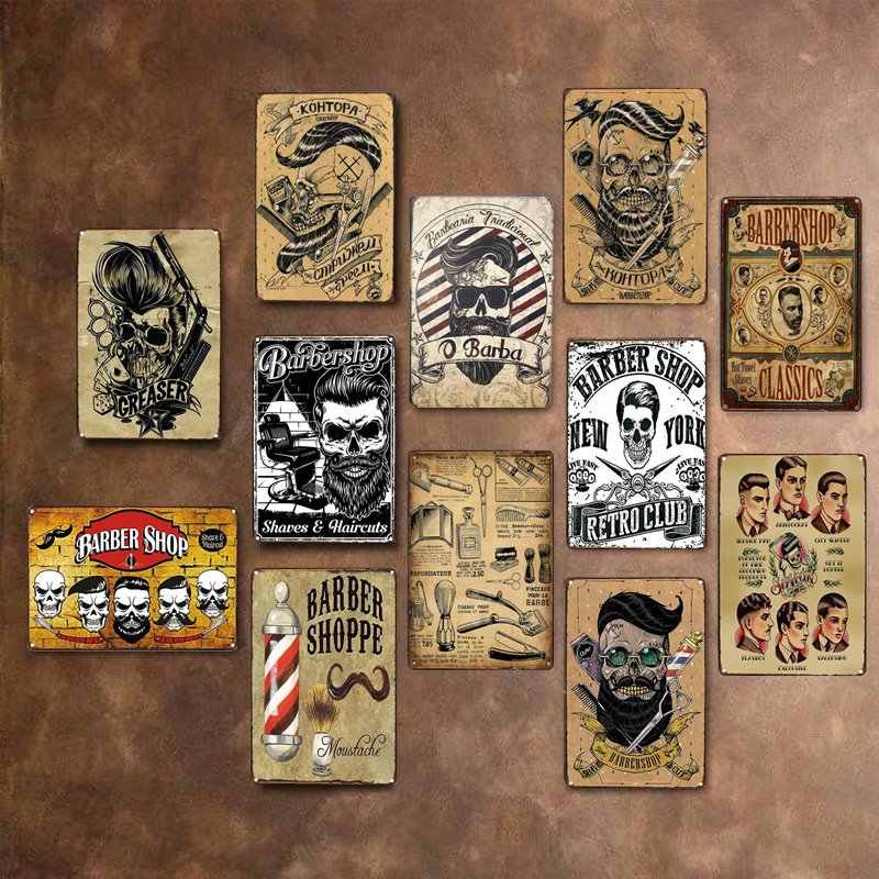 Barber Shop Vintage Tin Sign Metal Plate Decoration Plaque Poster Cafe Bar Store Wall Home Decor