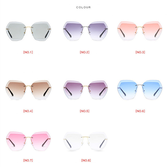 2019 Fashion Square women's sunglasses hue Vintage Retro Rimless Sun Glasses for women Female Ladies Sunglass gafas de sol mujer 5
