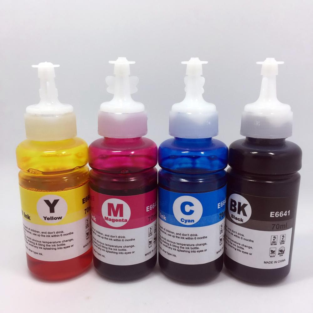 YOTAT 70ml Dye ink T6721-4/ T6641-4 for <font><b>Epson</b></font> L100 L110 L120 L132 <font><b>L210</b></font> L222 L300 L312 L355 L350 L362 L366 L550 L555 L566 <font><b>printer</b></font> image