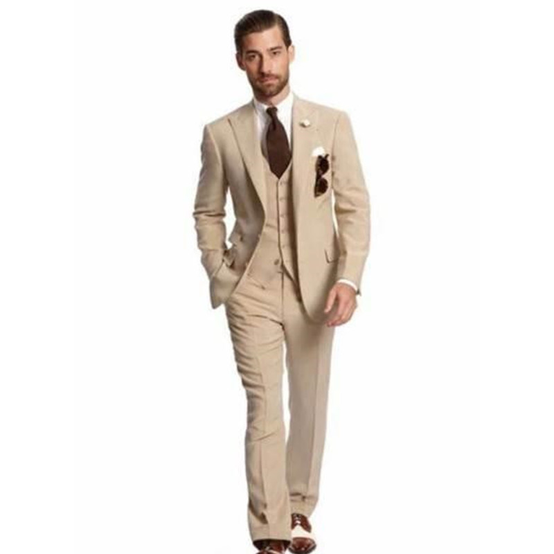 2019 Classy Wedding Men Suit Slim Fit Beige Bridegroom Groom Tuxedos Groomsmen Suit Men Suits Style For Prom (Jacket+Pants+Vest)