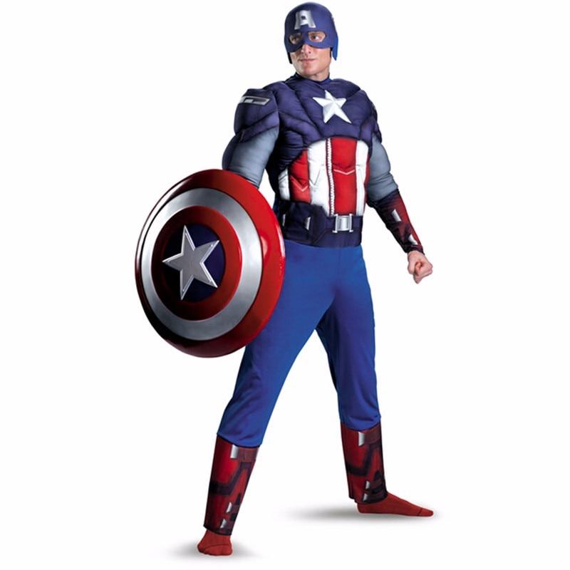 Hot sälja Vuxna Män Captain America Muscle Bröst Avengers Kostym Movie Superhero Muscle Halloween Kostym Vuxna män