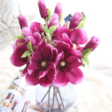 10 Pcs Wedding Mini Magnolia Artificial Simulation Silk Short Branch Flower