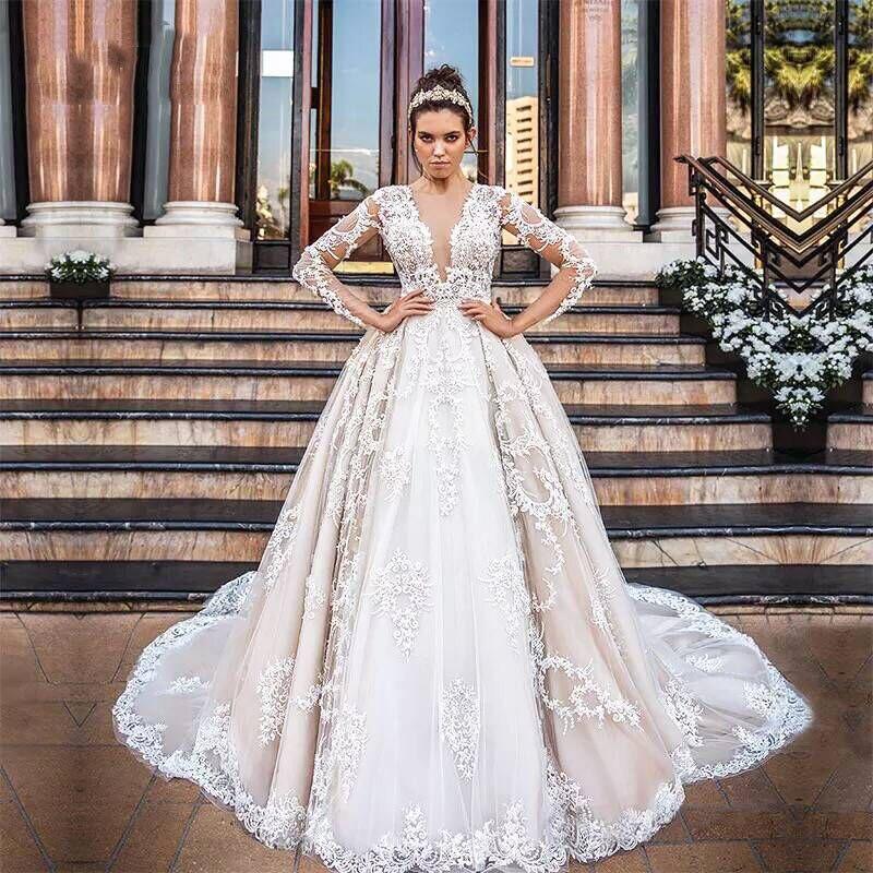 Manches Faite Long De Robes Mariage Mariée Maxi Commande Longues Champagne Robe Sur Élégant Soirée Événement qPxw465x