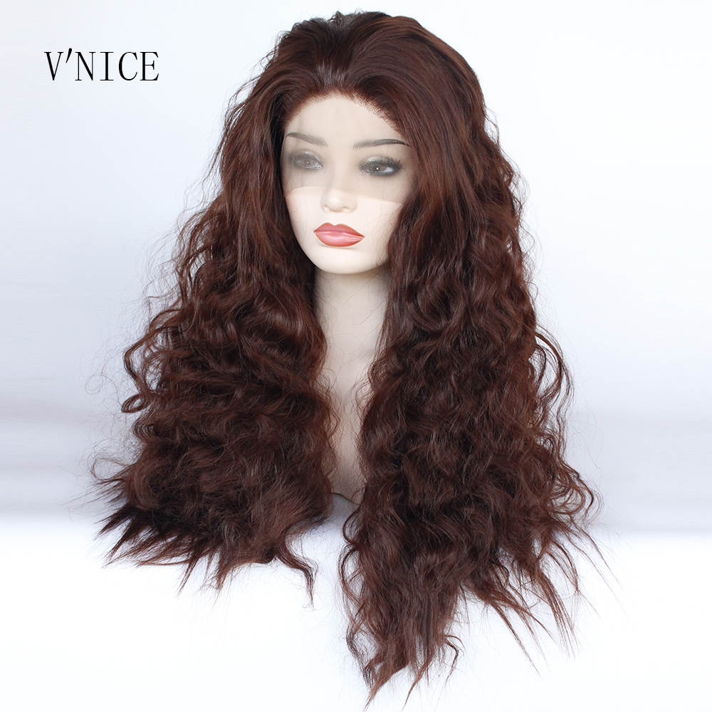 V NICE Long Loose Deep Wavy Copper Red Wig Heat Resistant Fiber Hair Synthetic Lace Front