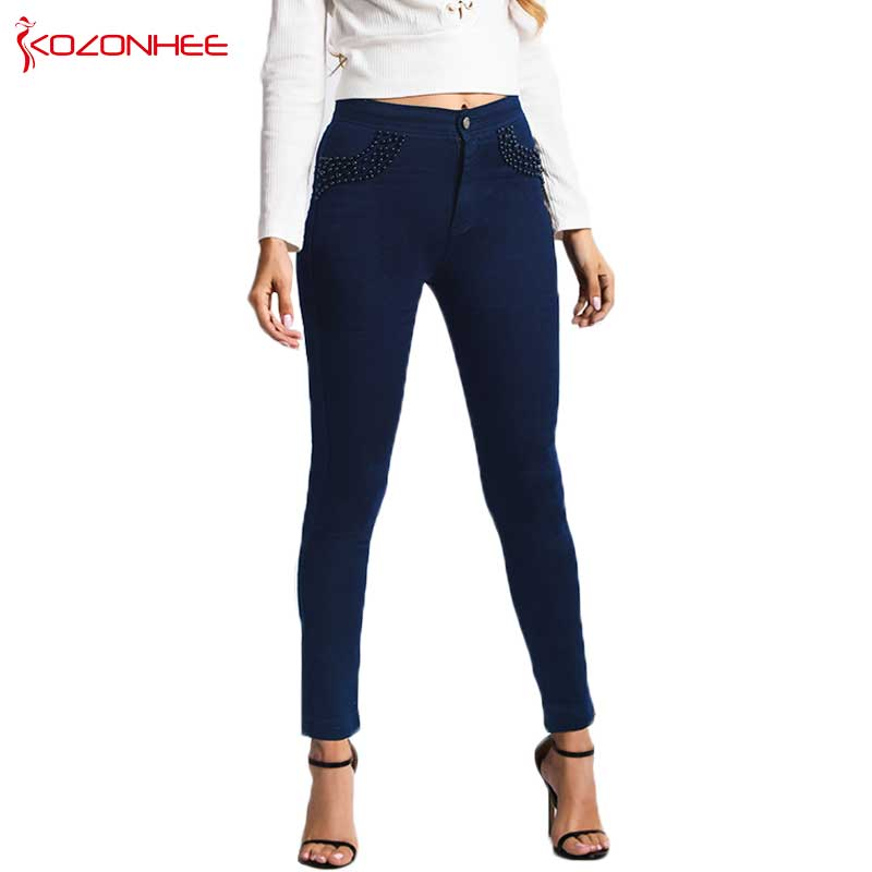 Fashion Deep Blue Embroidered FlaresJeans Women With High waist Elasticity Lady   Jeans   skinny Pencil Slim   Jeans   Plus Size #50