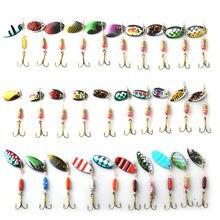 TOMA caliente 30 unids/lote Spinners señuelo de la pesca Kits de color mezclado/tamaño/dimensiones/peso cuchara de Metal señuelos duro Spinnerbait de pesca