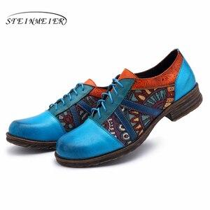 Image 3 - Femmes en cuir véritable richelieu concepteur décontracté vintage rétro chaussures plates pour femme chaussures à la main oxford chaussures pour femmes bleu 2020 printemps