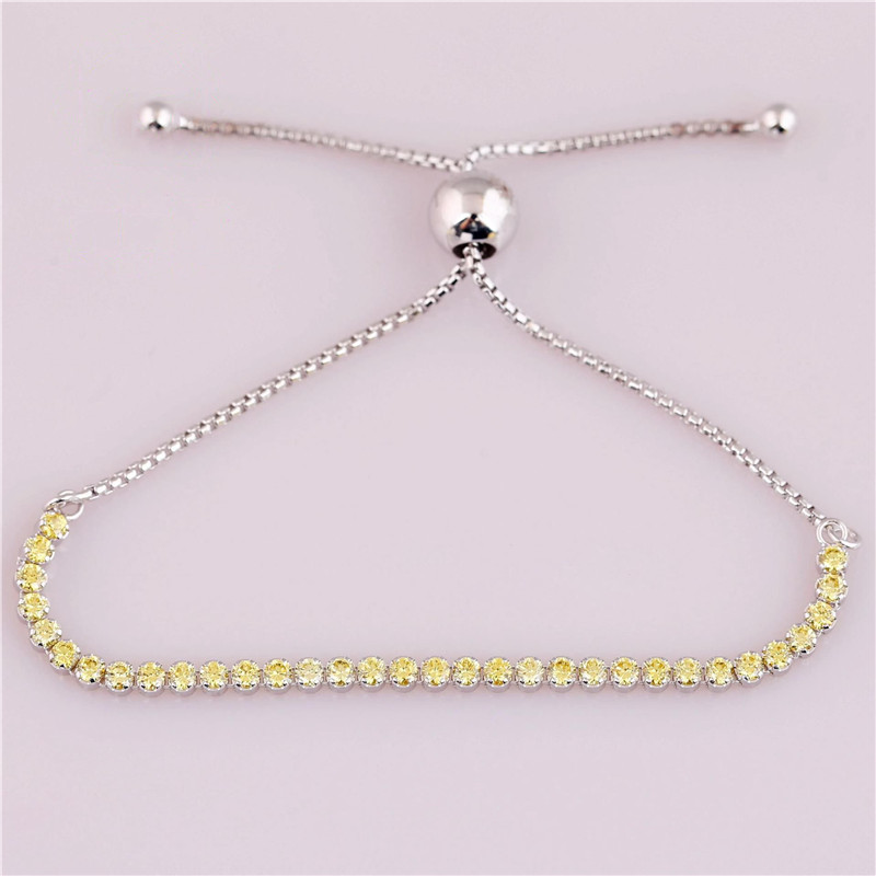 Trendy 925 Sterling Silver Bead Charm Chain Fit Original Golden Sparkling Strand Branded Bracelet Women Jewelry Birthday Gift in Charm Bracelets from Jewelry Accessories