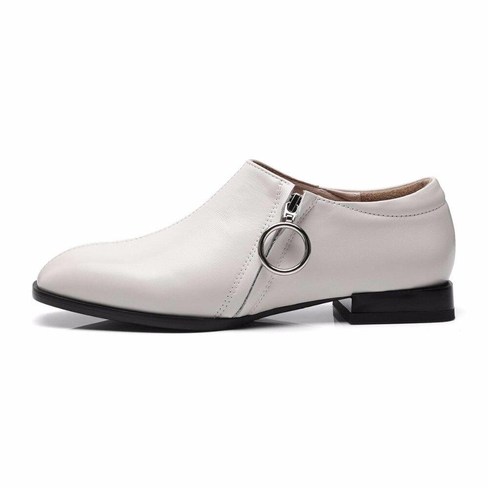 Genuino Zapatos Negro Cuero Casuales Cuadrada Bombas Coreanas Punta Bajos Lenkisen Transpirable blanco Mujeres L13 Chicas Tacones Cremallera 2018 Belleza 1R6TqYnp
