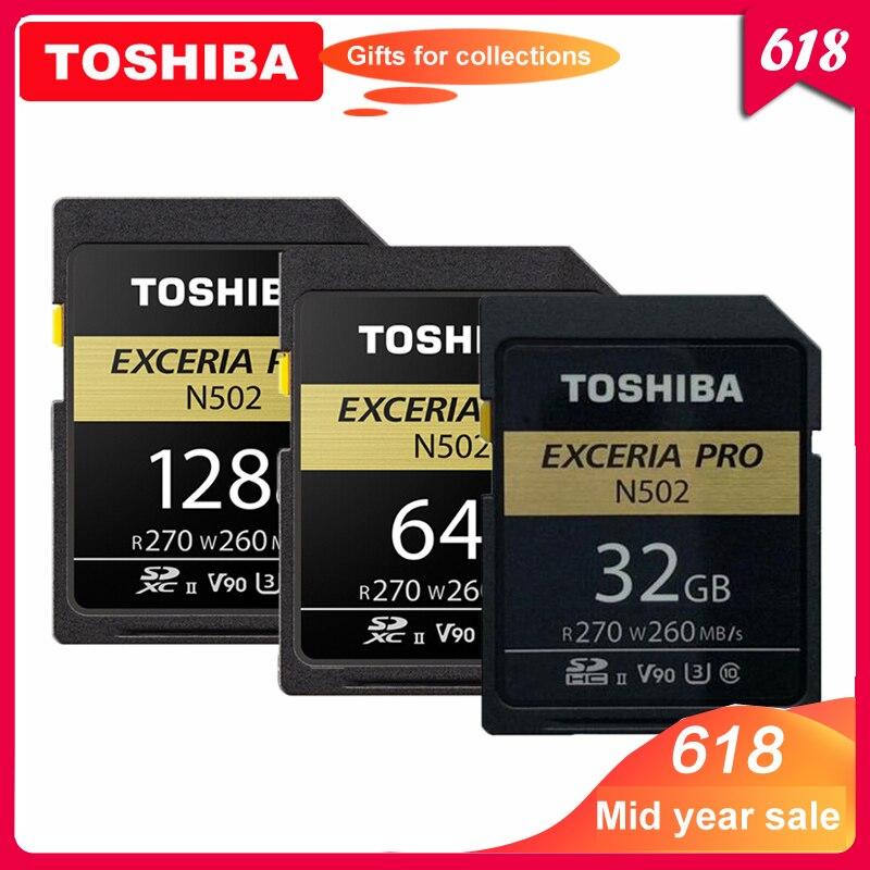 TOSHIBA carte SD 32 GB SDHC U3 64 GB 128 GB SDXC V90 UHS-II cartes mémoire N502 extrait PRO jusqu'à 270 mo/s prise en charge de l'enregistrement vidéo 8 K
