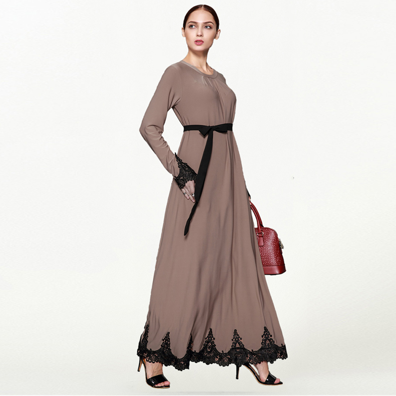 2019 émirats arabes unis Caftan Abaya Robe dubaï Islam arabe Caftan malaisie longue dentelle Hijab Robe musulmane femmes Jilbab turc vêtements islamiques