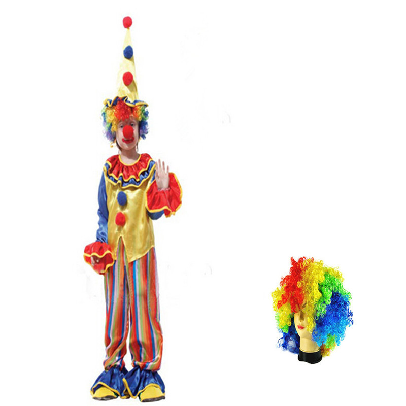 New Child Naughty Children Circus Clown Costume L XL Spliced Color Baby Carnival Add Hat Wig Festival Funny Party Full Set YW001