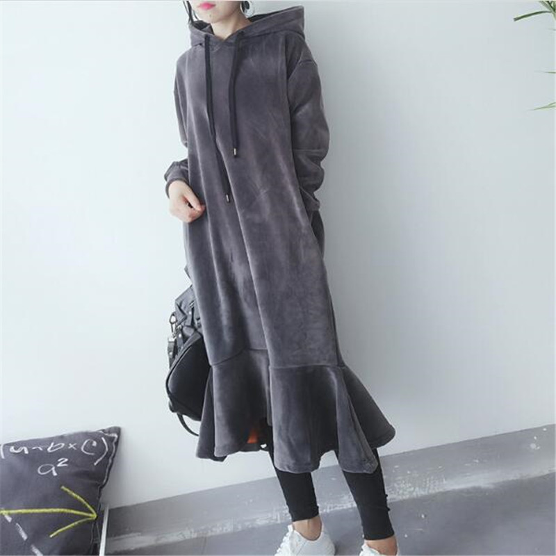 2019 New Autumn Long Sweatshirt Women Loose Casual Hooded Velvet hoodies Coat Female Warm Thick Long Sleeve Outwear A3907